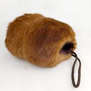 Real fur children's muff hand cover warmer